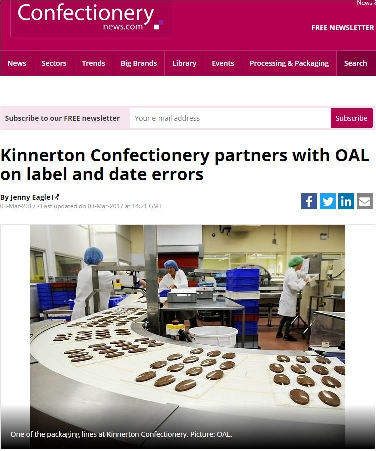 Confectionery News - Kinnerton Confectionery partners with OAL on label and date errors