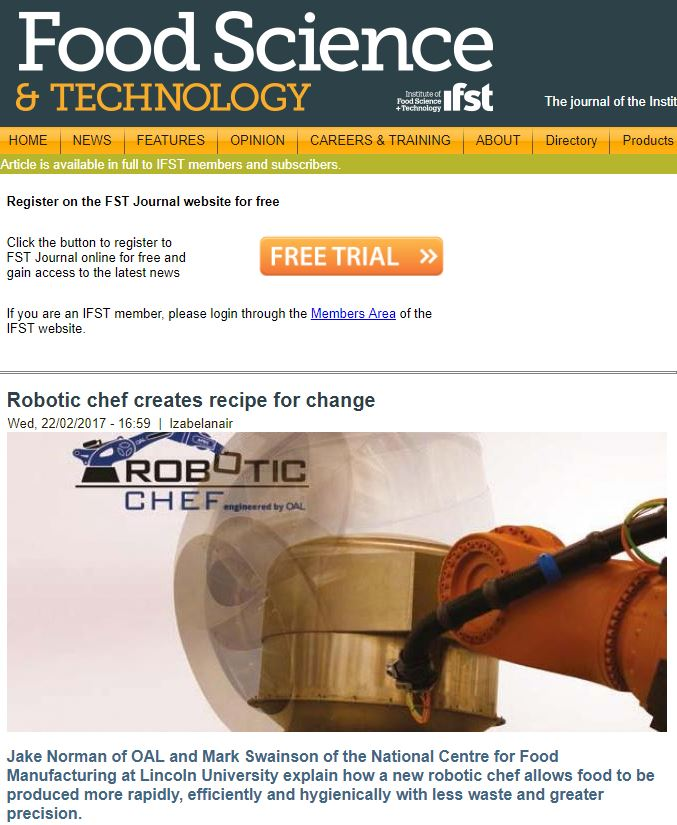 Food Science & Technology - Robotic Chef Creates Recipe for Change