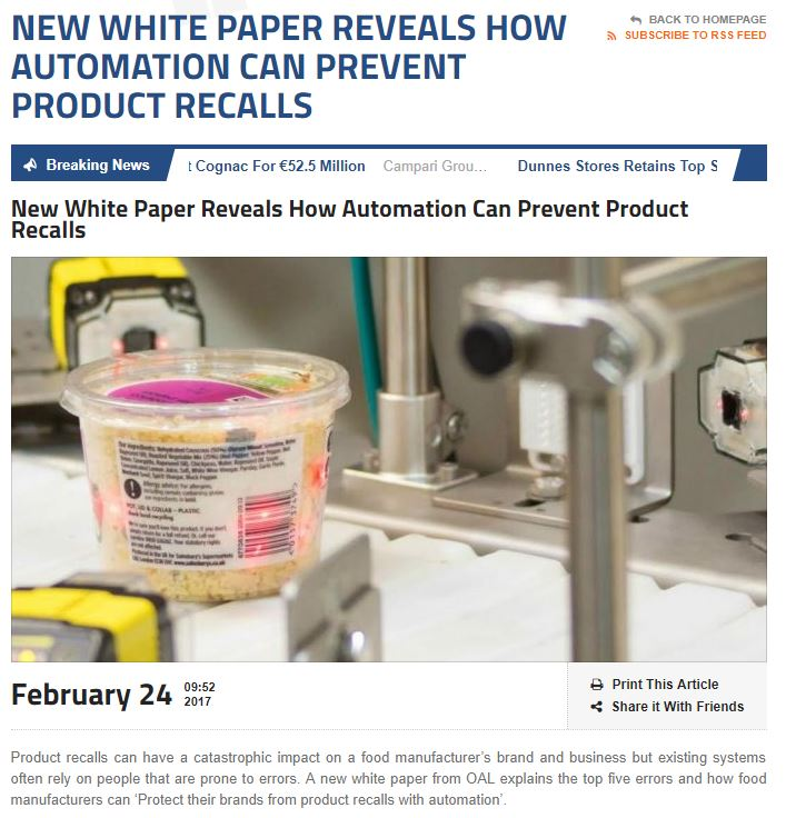 Food & Drink Business Europe - New White Paper Reveals How Automation can Prevent Product Recalls