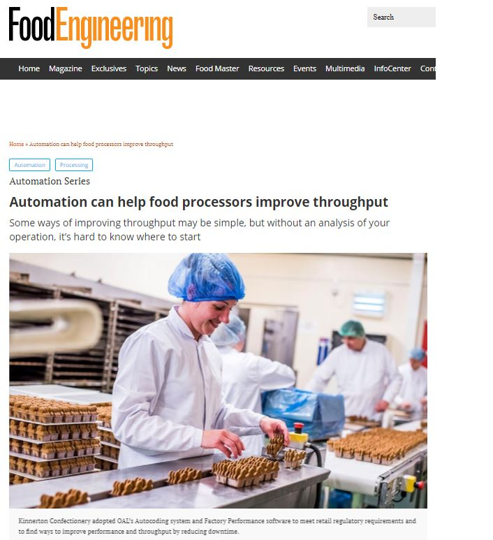Food Engineering - Automation can help food processors improve throughput