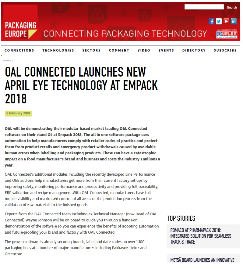 OAL CONNECTED LAUNCHES NEW APRIL EYE TECHNOLOGY AT EMPACK 2018