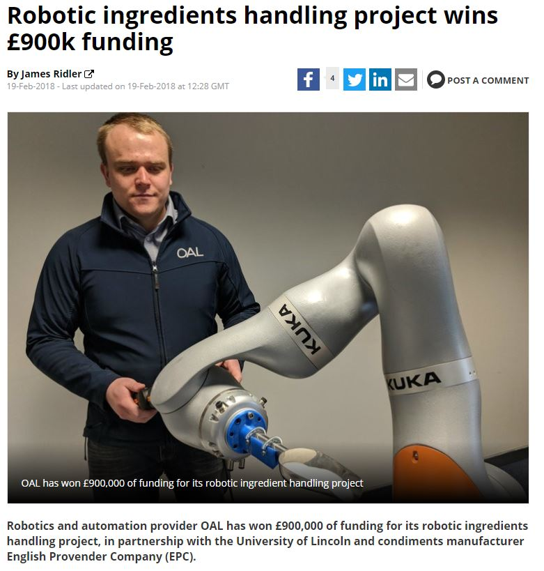 Robotic Ingredients Handling Project Wins £900k Funding