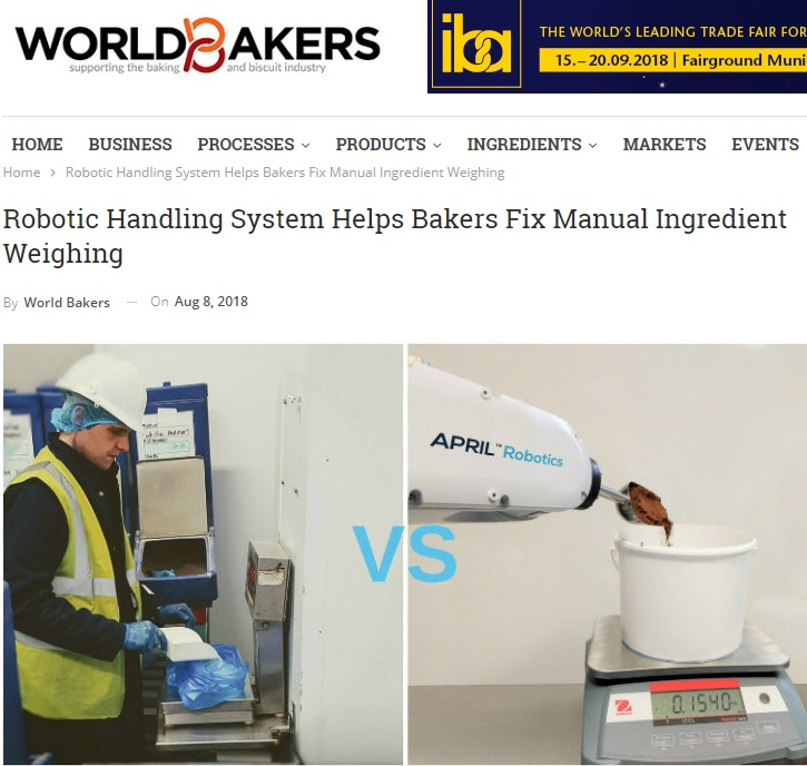 Robotic Handling System Helps bakers Fix Manual Ingredient Weighing