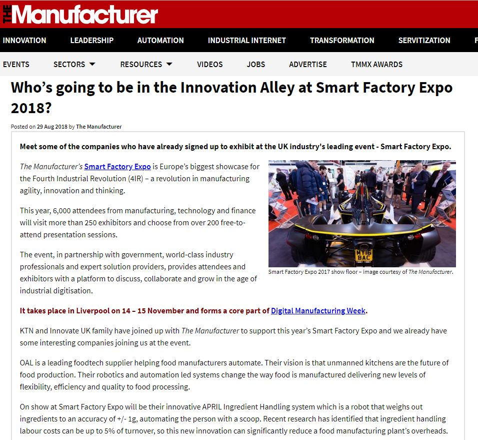 Who's going to be in the Innovation Alley at Smart Factory Expo 2018?