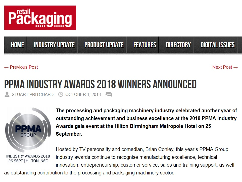 PPMA Industry Awards 2018 Winners Announced