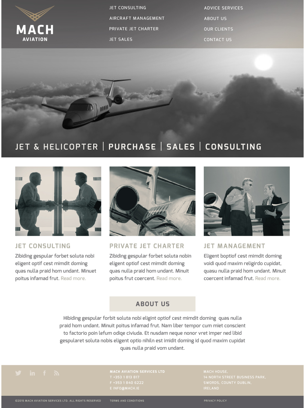 Concept design visual for Mach Aviation home page.