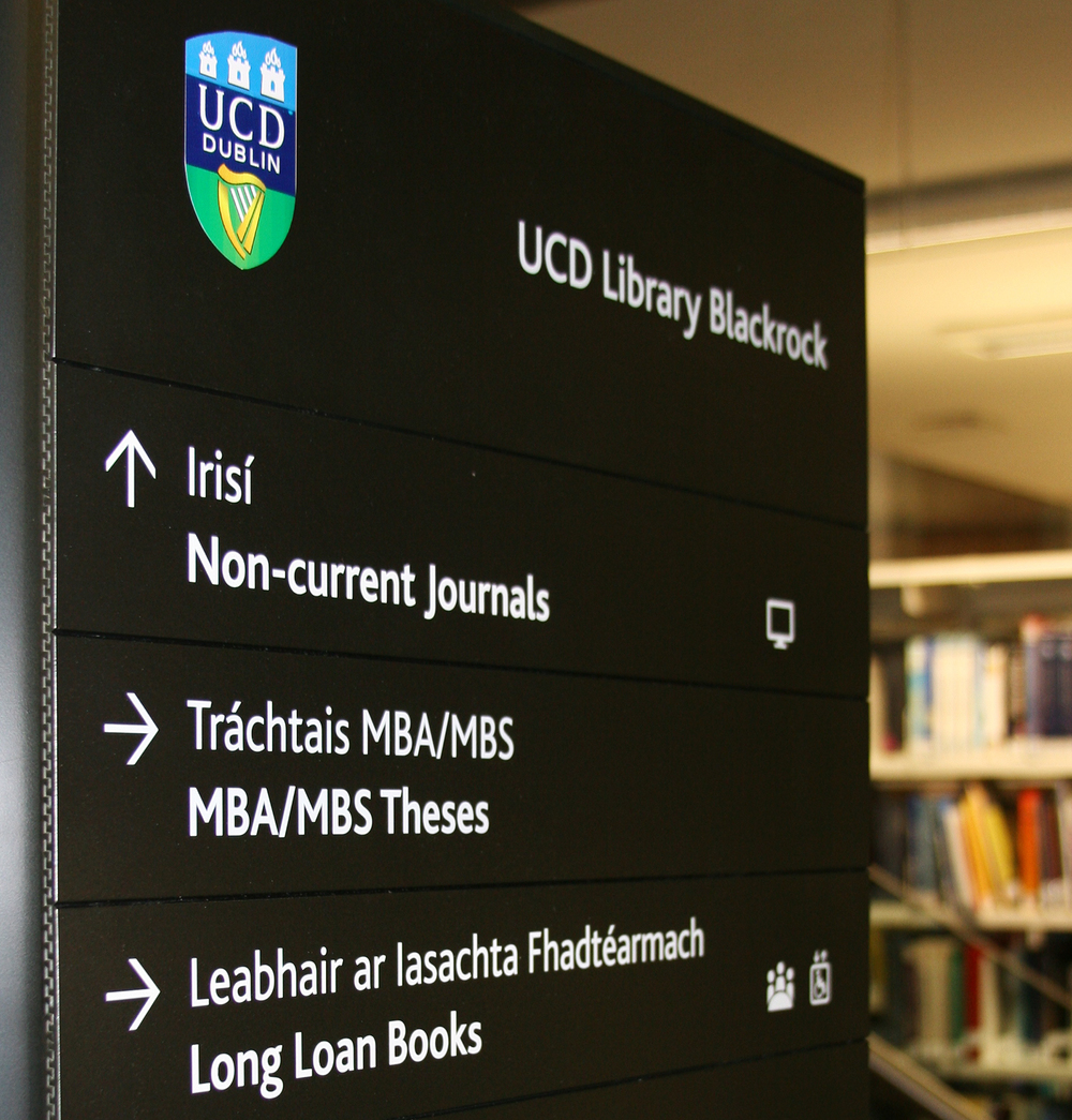 UCD brand, signage system, branded signage, branded sign, Smurfit brand, Smurfit school,brand consultant, Martin Crotty, BFK brand