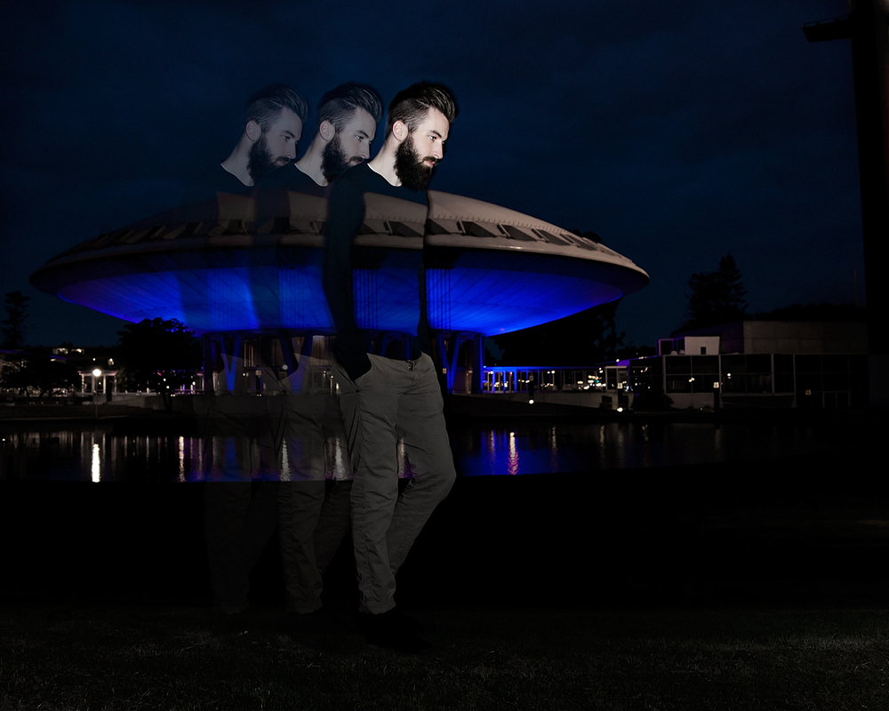 Modefotografie double exposure Evaluon Eindhoven