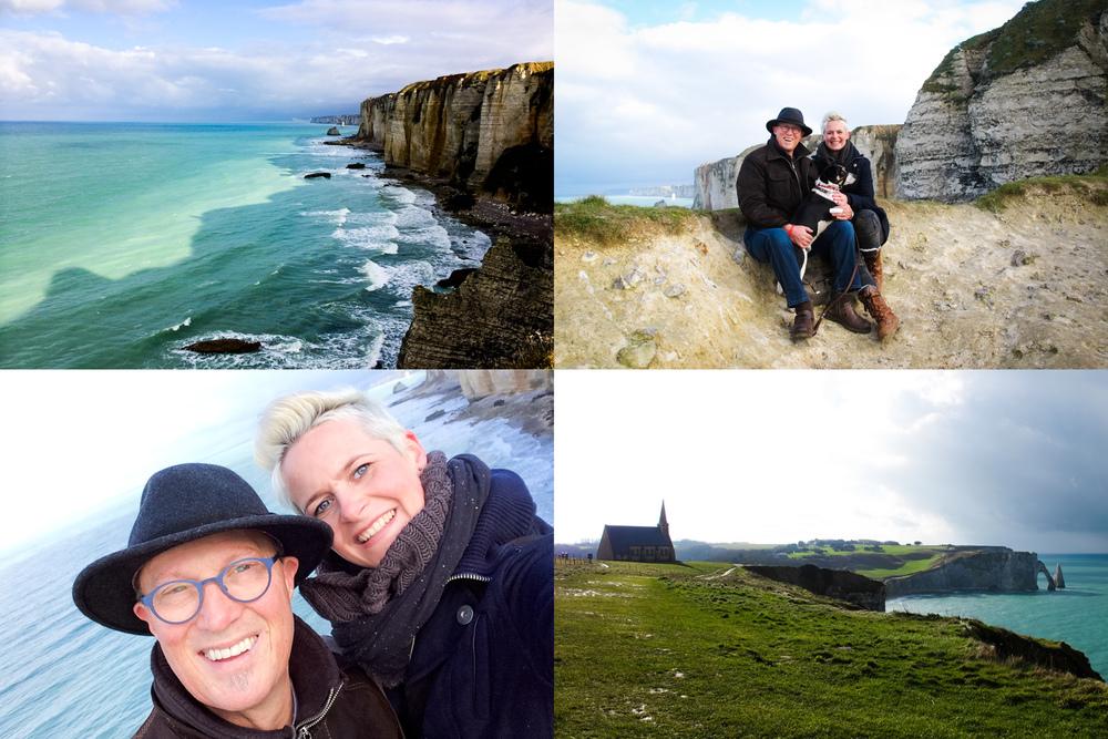 Reisfotografie mooi weer spelen vader-dochter Honfleur Frankrijk