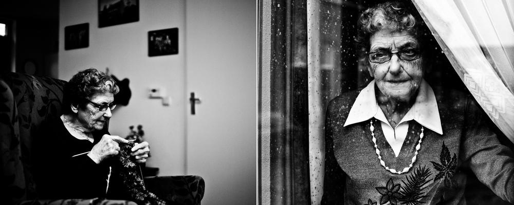 Tweeluik portret bejaard rimpels zwart-wit kwetsbaar Eindhoven