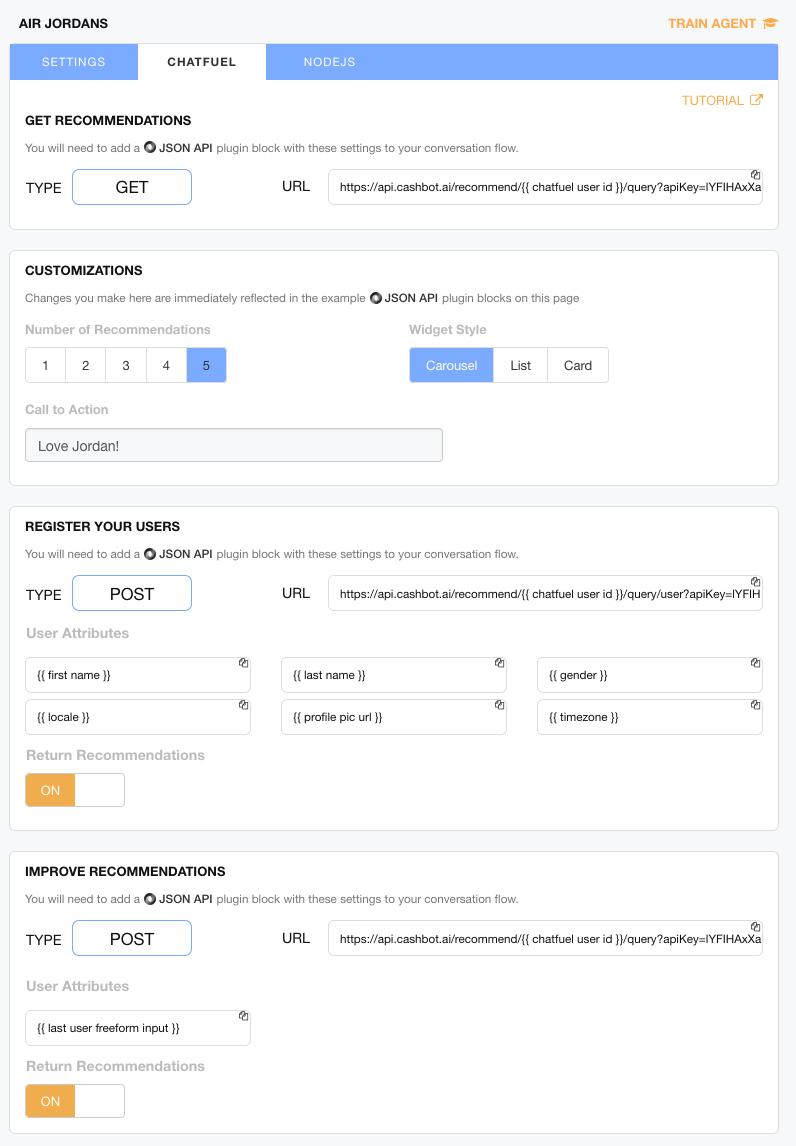 Figure 8: Chatfuel integration interface