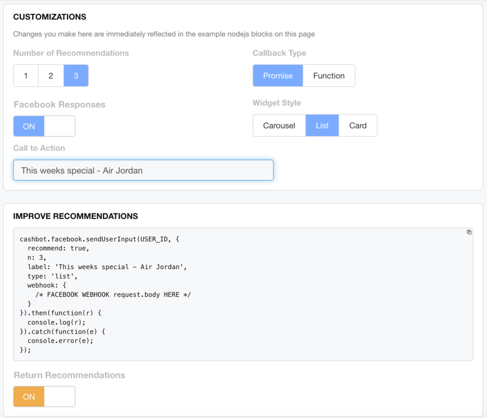 Figure 2: Node.js Improve recommendaitons with formatting for Facebook Messenger turned on.