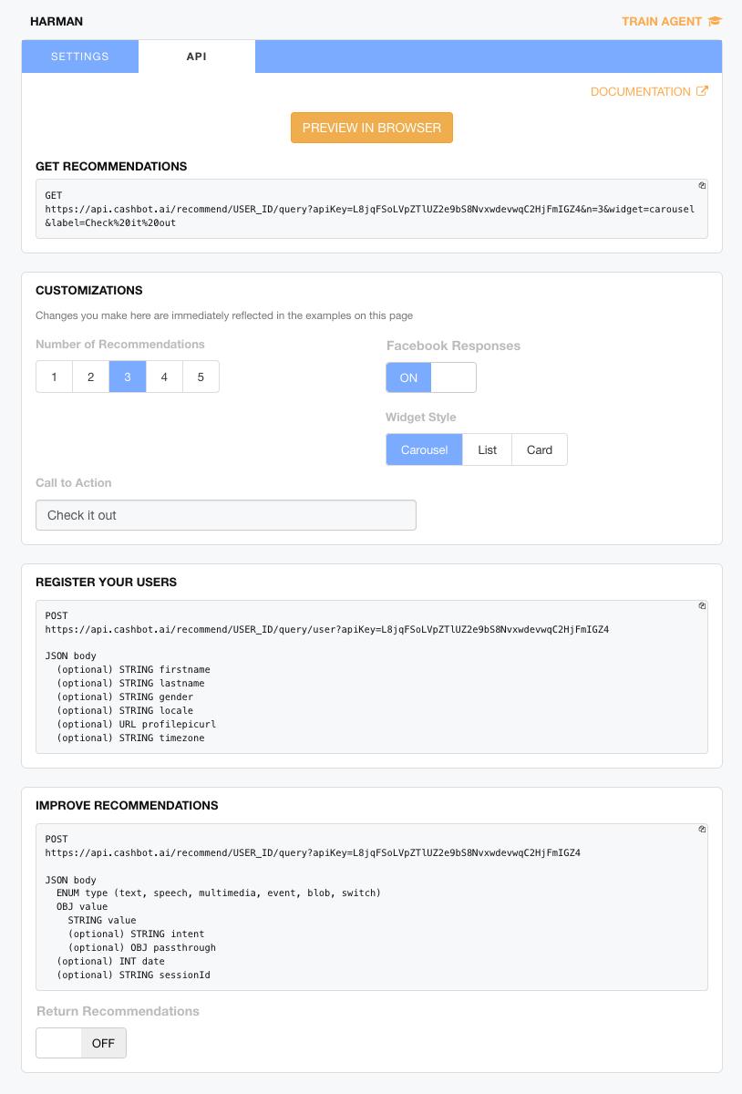 Figure 7: REST API integration interface