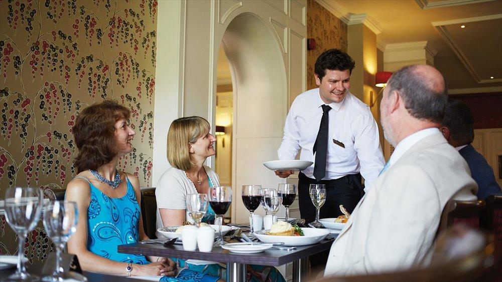 Service in The Rawson restaurant at Nidd Hall Hotel