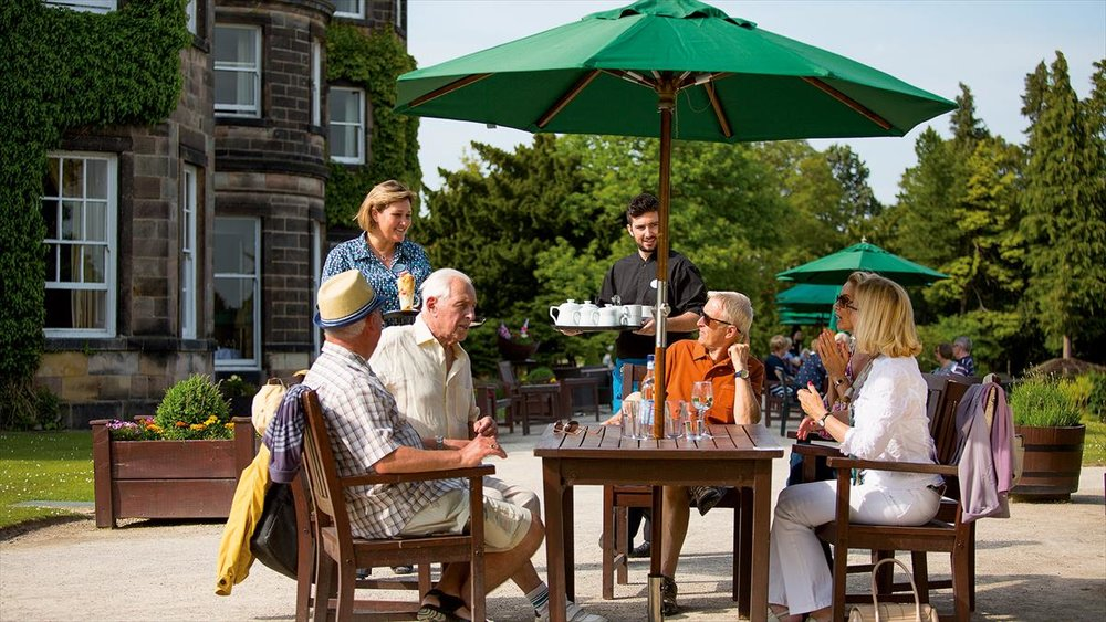 Drinks served on the terrace at Nidd Hall Hotel