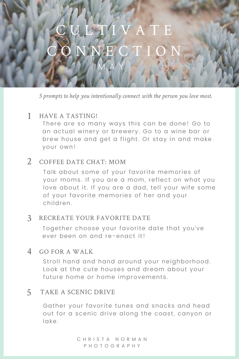 Love must be tended in order to thrive. This helpful graphic gives you five fun ideas so you can connect with the person you love most. Created by Christa Norman Photography.