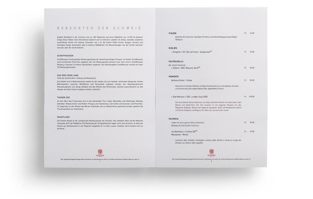 Wine Menu Hotel Du Sauvage