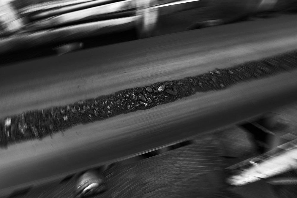 Brown coal on the conveyor belt