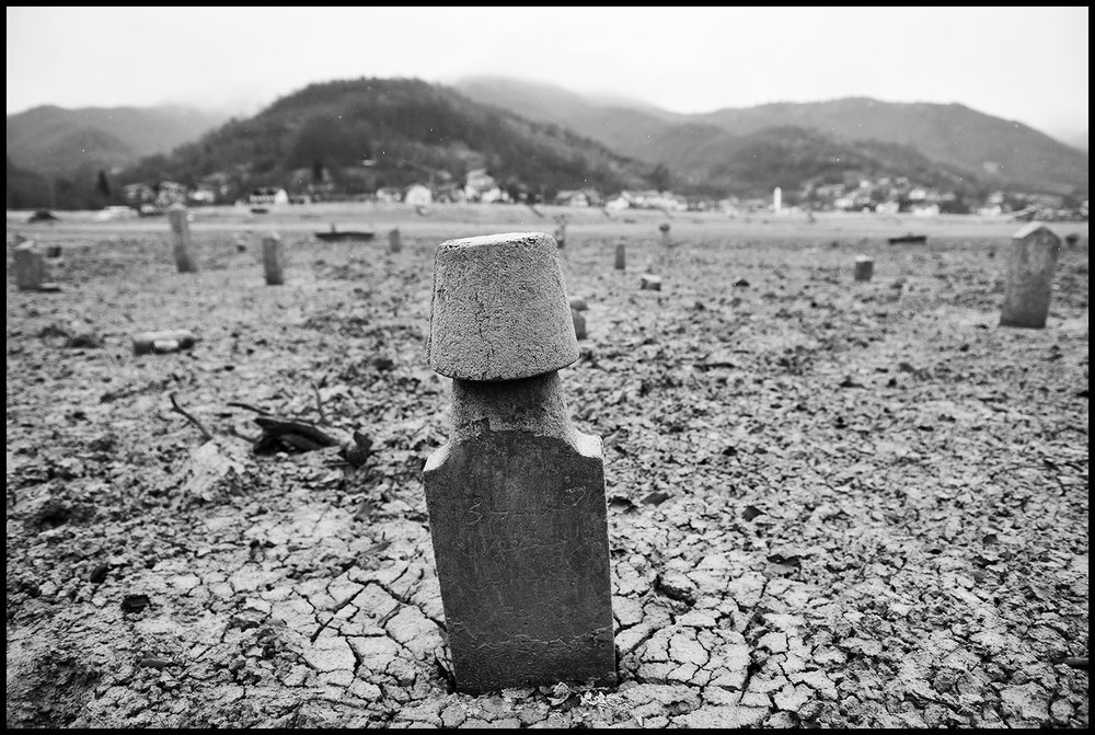 Sunken cemetery after Jablanica lake dried up in the Konjic municipality, Bosnia and Herzegovina. Power utility EPBIH which operates three-hydropower plants on the Neretva river, produced 1,395 gigawatt-hours (GWh) of electricity in 2016, or nearly 7 percent down from a year before, due to low hydro levels, especially last December, it said in a statement last month.