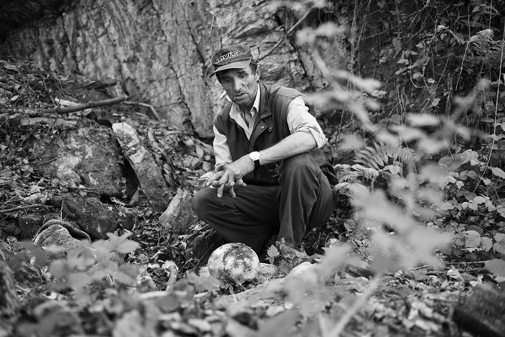 Srebrenica genocide survivor Ramiz Nukic has spent the last 15 years searching the forests of eastern Bosnia for the missing men from Srebrenica. To date, he has uncovered the remains about 250 people. His mission began with the search for his father and brother. He buried them last year, but he continued to search for other missing  people. Kamenica, Bosnia and Herzegovina.
