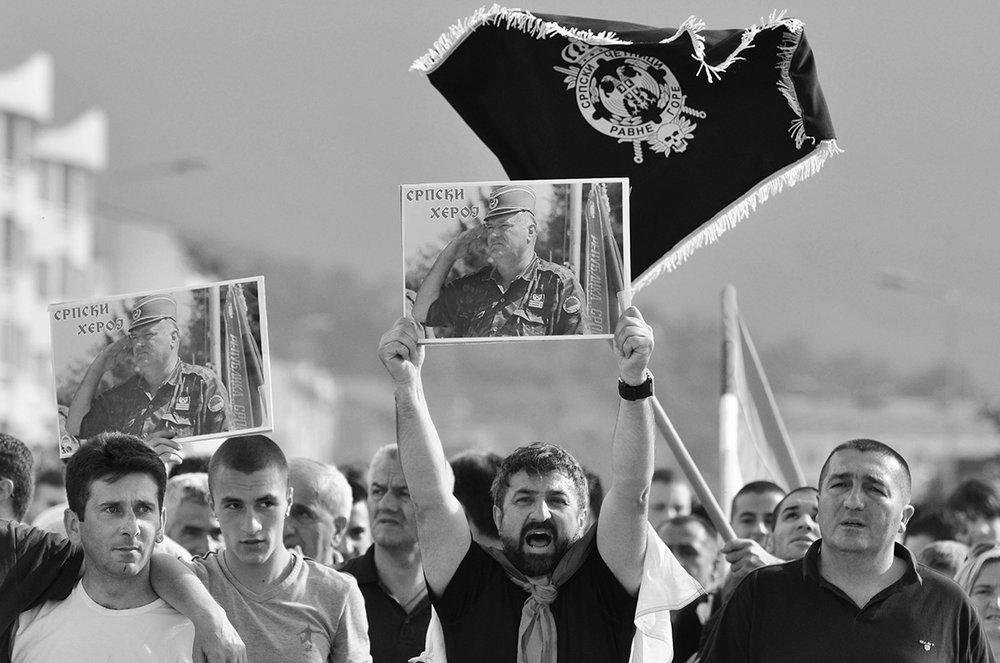 Supporters of General Ratko Mladic protest his arrest. Mladic, a former Bosnian Serb military leader, is on trial for committing war crimes, crimes against humanity, and genocide during the war in Bosnia.. Lukavica, Bosnia and Herzegovina.