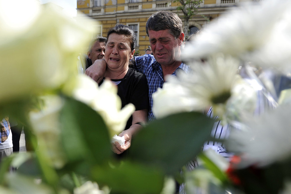 Bogdana Tomovic, the mother of 19-year-old soldier Zdravko Tomovic who was killed during the Dobrovoljacka Street attack, mourns the loss of her son during the May 3rd comemoration in Sarajevo, bosnia and Herzegovina.