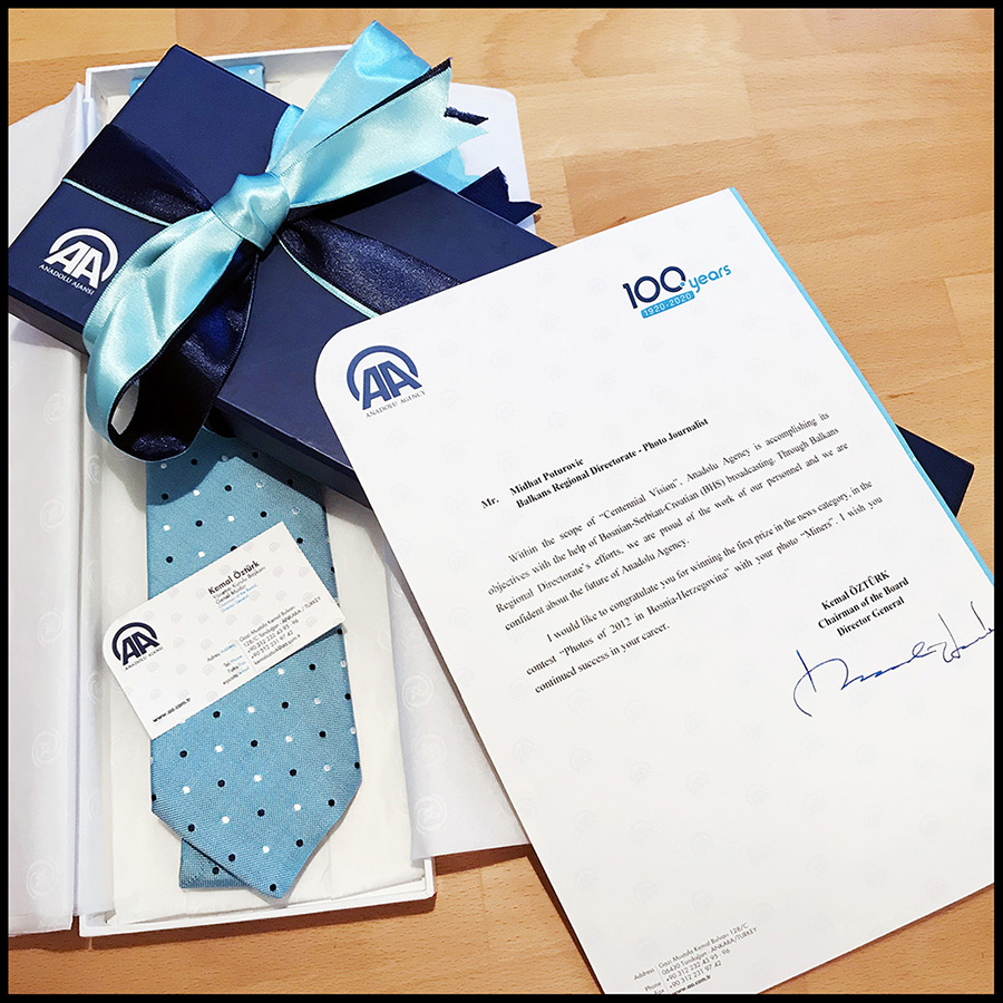 "I was surprised and honored to get this special gift from Mr. Kemal Ozturk, the Chairman of the Board and Director-General of ""Anadolu Agency"". I am working for Anadolu Agency few months, my colleagues told me that I received the recognition which employees may receive maybe only after 10 years of work for the Anadolu Agency. I am honored to be one of the few employees who receive this recognition. Thank you for recognizing the importance of my work!"