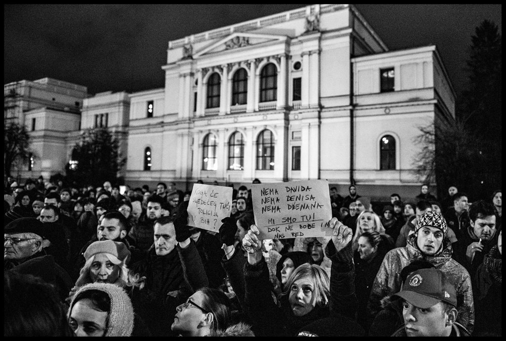 "Several hundred citizens of Sarajevo gathered in front of the National Museum of BiH giving support to Davor Dragicevic and the ""Justice for David"" movement in Banja Luka."