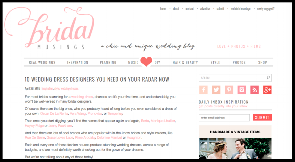 Bridal Musings  April 2016