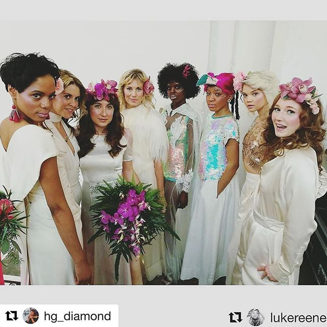 Reposting a lovely shot from the #mostcuriousweddingfair a couple weeks ago. All these dresses are great! Spot ours the 3rd one from the left. #Repost @hg_diamond ・・・ #Repost @lukereene with @repostapp ・・・ Backstage at @mostcuriouswedfair  #Bridal #Styling #AMCF17 #MostCurious #amcwf