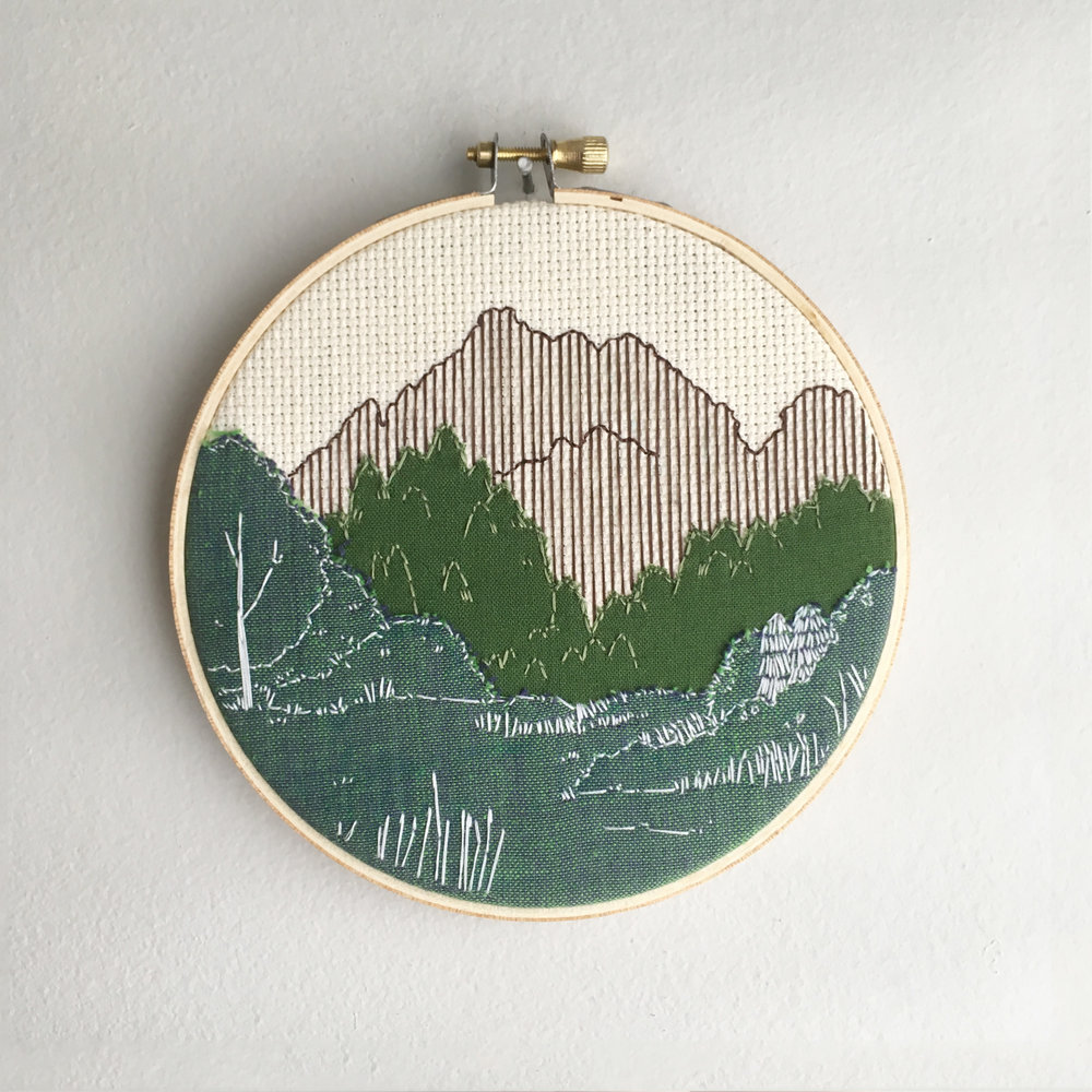 Green Landscape hoop art