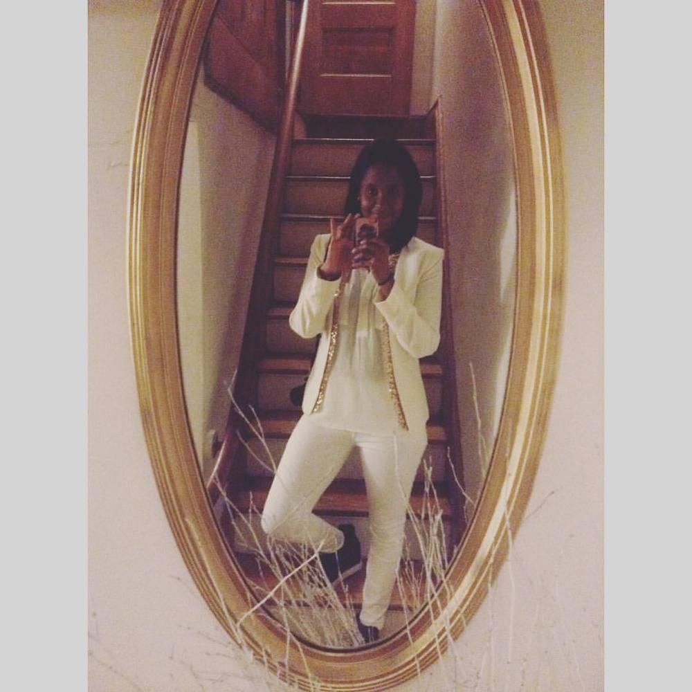 #nye #Harlem #happynewyear #handm #sequin #blazer #gap #white #denim #jeans #stevemadden #wedge #sneakers #quilted