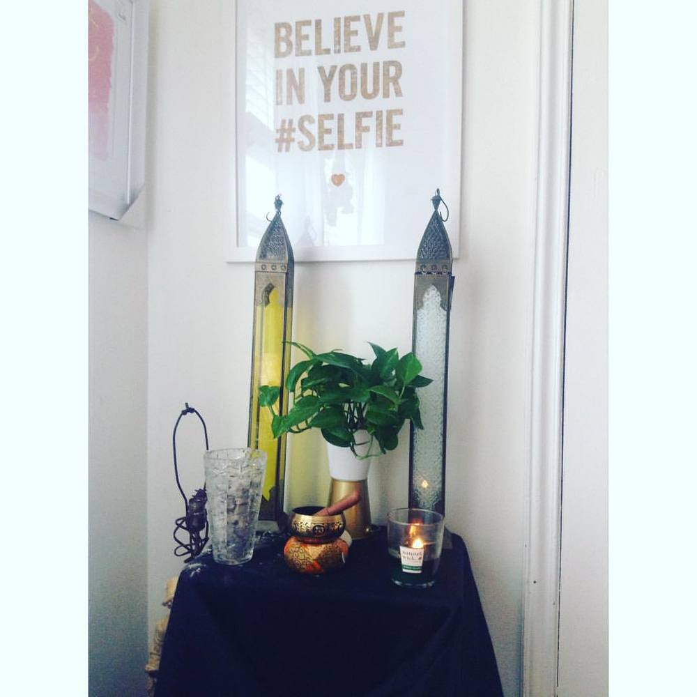 I play chimes, light incense, burn wooden wick candles to hear the crackle, and meditate. All I need is a fountain to make the four elements complete. #goodmorning #meditate #chimes #incense #candle #natureswick #believeinyourselfie #homegoods