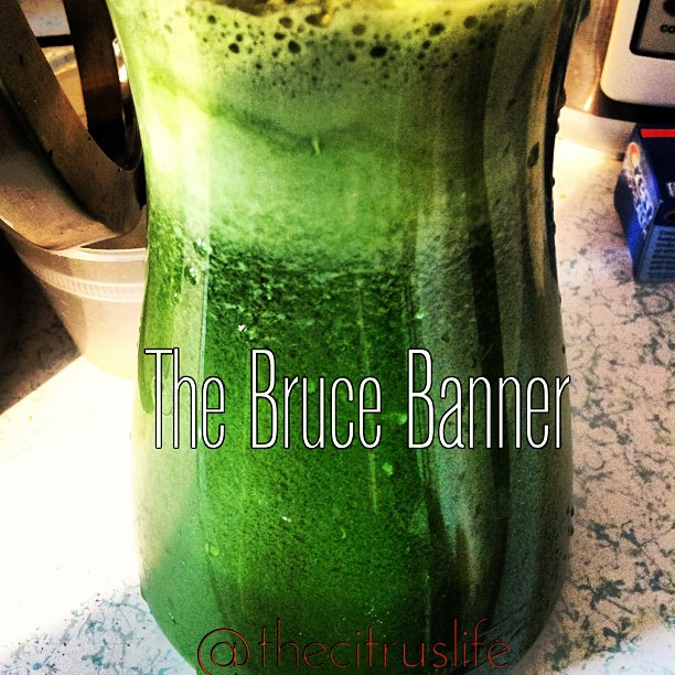 thecitruslife: Sunday, sweet Sunday. A perfect day to make two days worth of #TheBruceBanner. Wanna taste? Try out this quick and easy energy booster. 1. Two cucumbers 2. One bunch kale 3. Two thumbs ginger 4. A handful of parsley 5. One bunch green chard 6. 2 Green apples 7. One lemon 8. One Lime (optional) 9. Six stems celery Remember to Live Happily, Eat Naturally, and Connect Spiritually today! #thecitruslife #Kale #GreenChard #Cucumber #Celery #GreenApple #Ginger #Lemon #Parsley #Lime #KeepItFresh My signature mean green.  A perfect day to make two days worth of #TheBruceBanner. Wanna taste? Try out this quick and easy energy booster.  1. Two cucumbers  2. One bunch kale 3. Two thumbs ginger 4. A handful of parsley 5. One bunch green chard 6. 2 Green apples 7. One lemon 8. One Lime (optional) 9. Six stems celery Remember to Live Happily, Eat Naturally, and Connect Spiritually today! #thecitruslife #Kale #GreenChard #Cucumber #Celery #GreenApple #Ginger #Lemon #Parsley #Lime #KeepItFresh