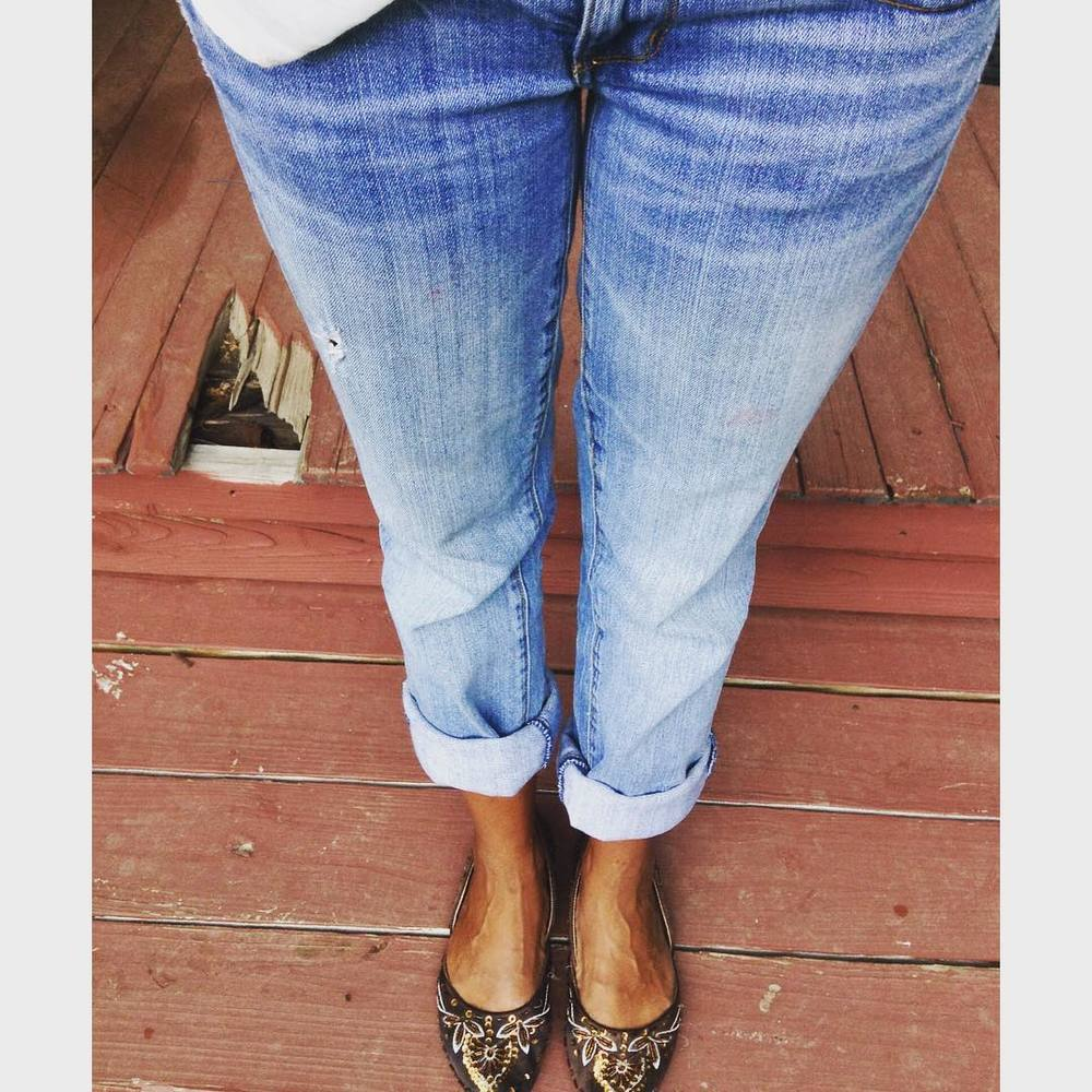 Thrift store chic. #savers #ct #connecticut #style #fashion #jeans #flats
