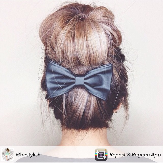 My favorite way to wear a top bun. #BunsAndBows #Bow #beauty #hair #topbun #natural #Casual #chic