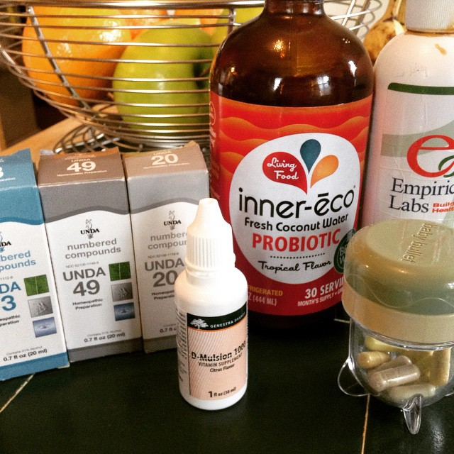 My daily supplement requirement–prescribed by my #naturopathic #doctor–that I take all at once in the morning. The numbered compounds I take twice a day and my antioxidants (in the baby bullet) I take twice a day as well. There are also #probiotics, #milkthistle, and an #RLipoicacid #supplement. I love my #PhospholipidComplex made of #Sunflower. I also adore this #InnerEco Fresh Water Coconut Probiotic that I add as an extra probiotic boost. #supplements #health #gut #goodbacteria #livehappily #eatnaturally #thecitruslife #seroyal #UNDA #EmpiricalLabs