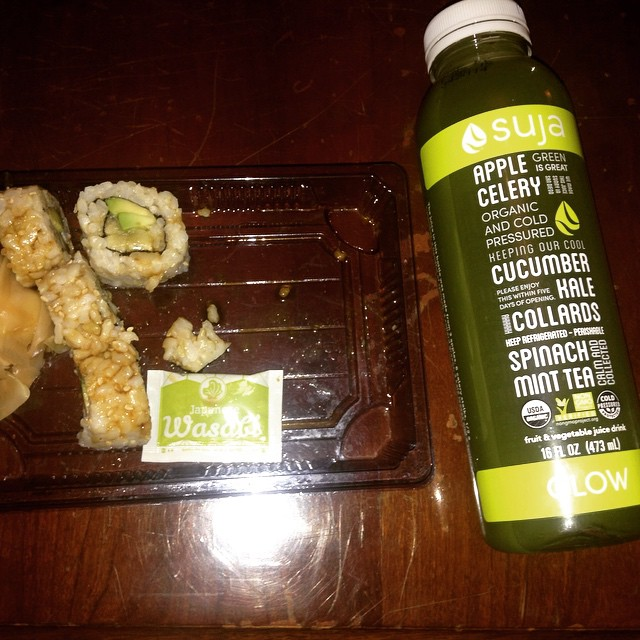 Dinner: #wholefoods #Suja and #brownrice #avocado #cucumber #roll #celery #kale #collards #spinach #mint #tea #eatnaturally