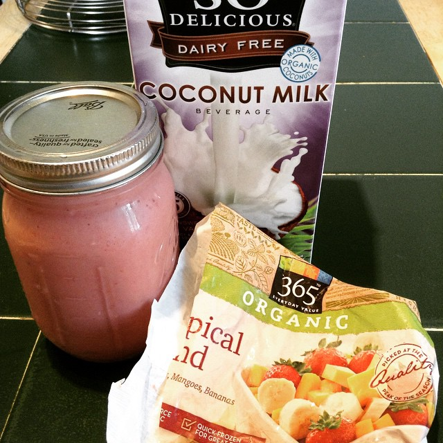 Morning smoothie prepped for tomorrow. #TropicalBlend #365 #WholeFoods #SoDelicious #CoconutMilk #smoothie #eatnaturally