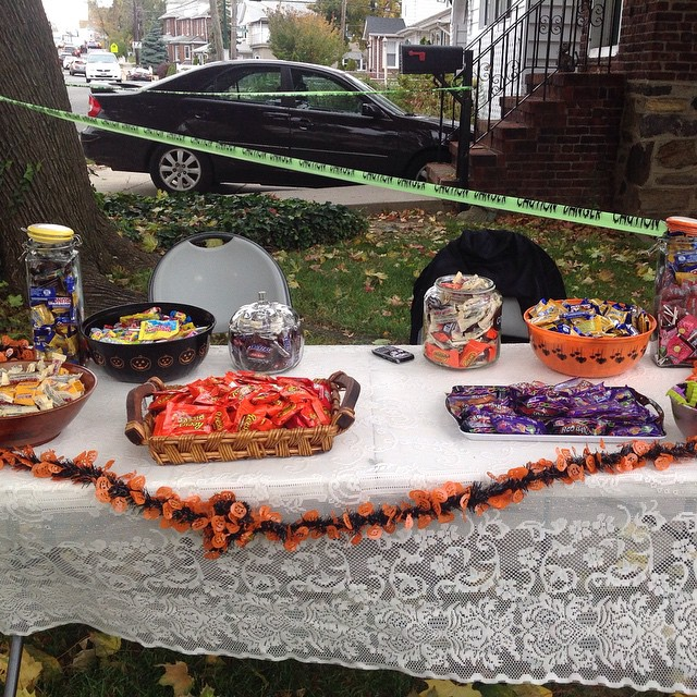 Candy table in the cold. #HappyHalloween #Halloween #livehappily