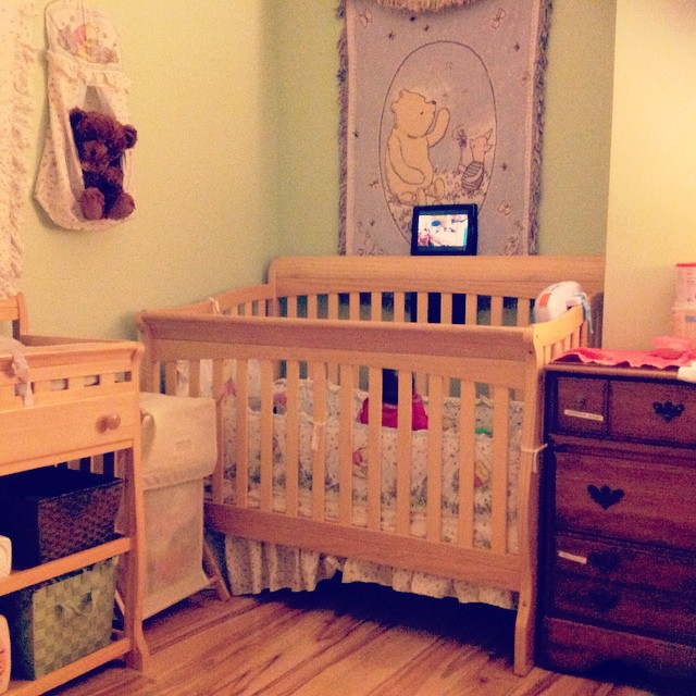 My whittle Minas in her crib winding down…or so I thought, lol. Watching Harry The Bunny. #baby #babytime #nursery #livehappily #harrythebunny