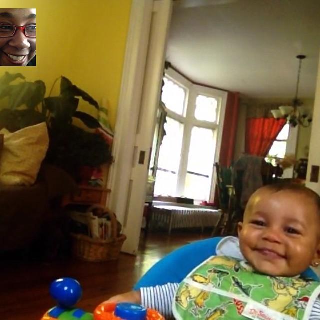 I love making her laugh. #FaceTime #amtrak #baby #babytime #livehappily #thecitruslife #travel #love