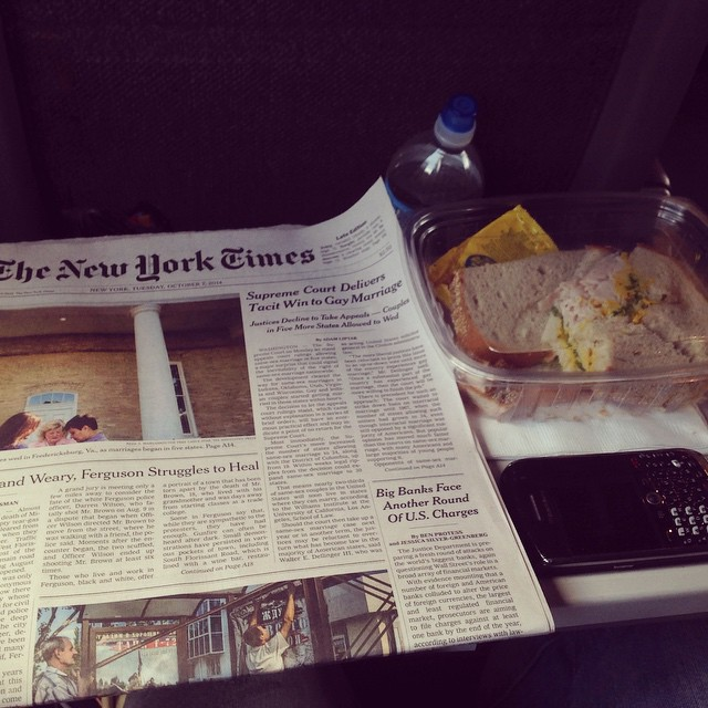The best part about Amtrak Travel: Business Class. Lots of room, The New York Times, my sandwich, my iPad, no overcrowding, and an awesome view. #Amtrak #Travel #BusinessClass #peace #food #TheNewYorkTimes #ipad #livehappily #thecitruslife #breathingspace