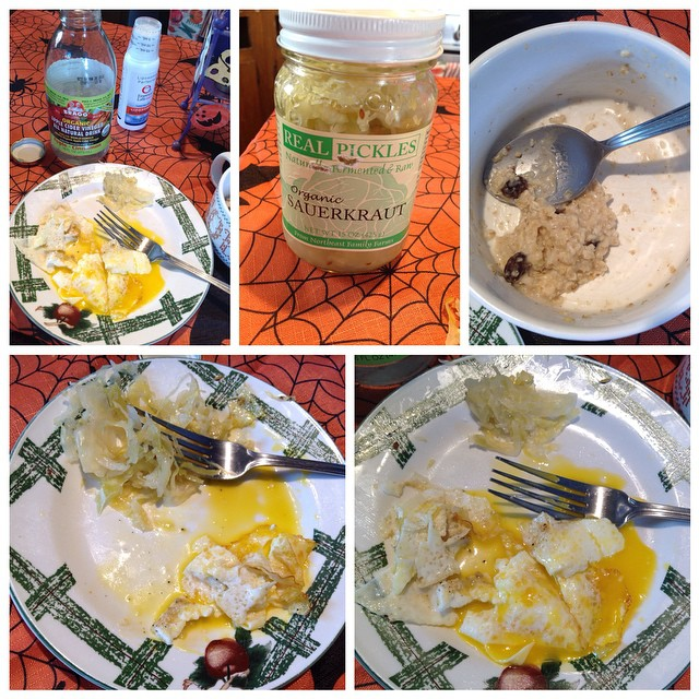 Today was a good food day. I began my day with my flavored Apple Cider Vinegar then had about half a packet of gluten free oatmeal. Couldn't finish it all. Felt like a brick hitting my stomach. I then had a craving for sauerkraut and had about ½ cup of it with one sunny side up egg. My body seemed to be craving natural probiotics and enzymes. Pleasantly surprised at how well I did this morning. Feeling like a fighter. #probiotics #enzymes #ontheroadtorecovery #applecidervinegar #applecinnamon #organicsauerkraut #glutenfree #oatmeal #egg #fighter #candidafighter