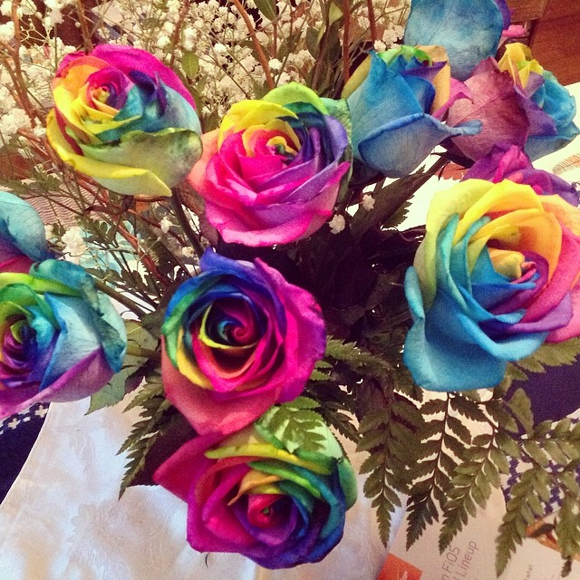 My #mothersday flowers from my booby. #livehappily #rainbow #roses #bouquet #thecitruslife