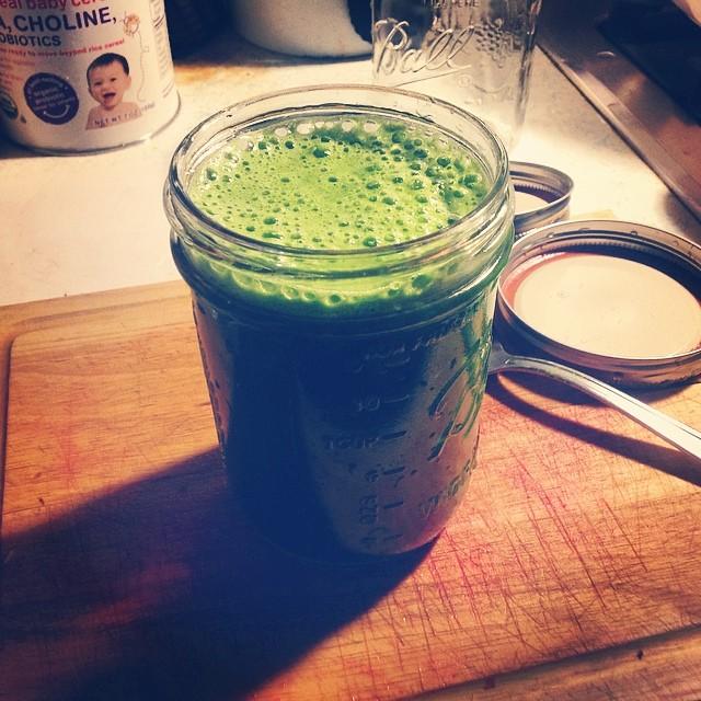 Enjoying my morning at 6am. #morning #green #greenjuice #greenchard #swisschard #kale #keylimes #ginger #celery #cucumber #eatnaturally #eatclean
