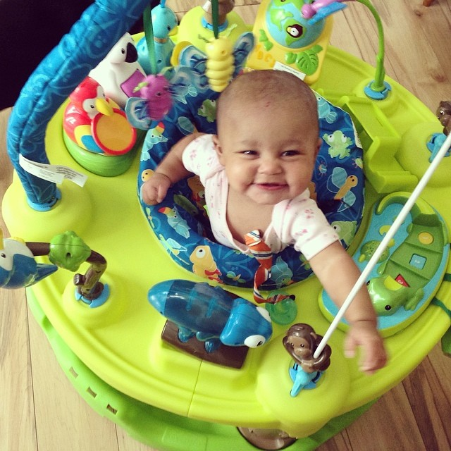 "My whittle ""Dina Mina"" loves her jumpy. #babytime #baby #proudaunty #walker #livehappily #connect"