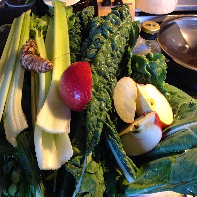 Added a #pinklady #apple and #turmeric to the mix. #green #greenjuice #kale #swisschard #collardgreens #greenchard #celery #eatnaturally #thecitruslife #livehappily