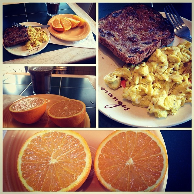 #Goodmorning #citrus #breakfast #orange #eggs #ezekial #toast #coconutoil #eatnaturally #livehappily #thecitruslife #simple