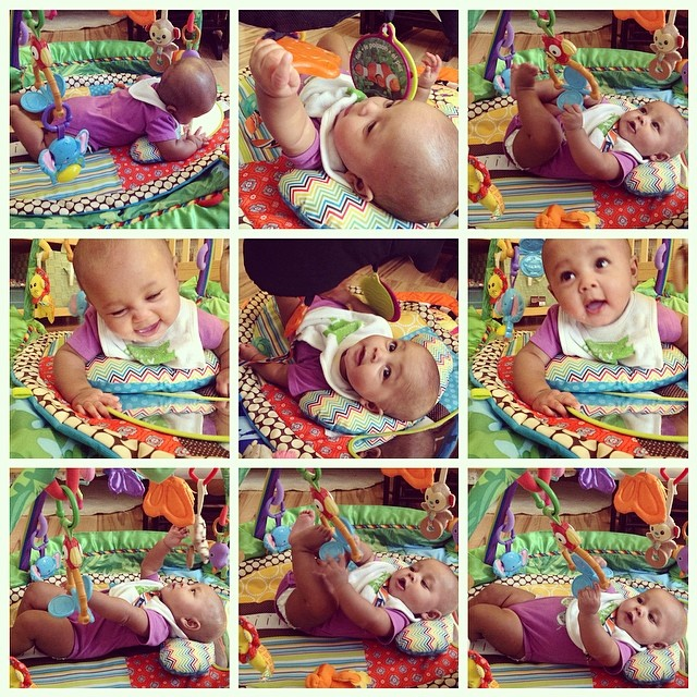My whittle mush-a-doosh is having #gymlife #tummytime again. Time for the crawling to begin. She gets frustrated and I give her breaks but when she accomplishes a tough maneuver, she laughs after we clap. #twinning #proudaunty #tummytime #crawling #baby #babytime #toughcookie #livehappily #thecitruslife #fitness
